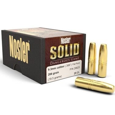 Nosler .366 / 9.3mm 286 Grain Flat Point Dangerous Game Solid (25)