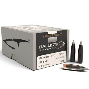 Nosler .277 / 6.8mm 130 Grain Spitzer Point Ballistic Silvertip (Combined Technology) (50)