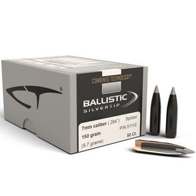Nosler .284 / 7mm 150 Grain Spitzer Point Ballistic Silvertip (Combined Technology) (50)