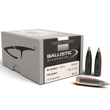 Nosler .308 / 30 168 Grain Spitzer Point Ballistic Silvertip (Combined Technology) (50)