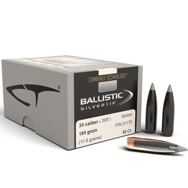 Nosler .308 / 30 180 Grain Spitzer Point Ballistic Silvertip (Combined Technology) (50)
