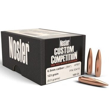 Nosler .264 / 6.5mm 123 Grain Hollow Point Boat Tail Custom Competition (100)