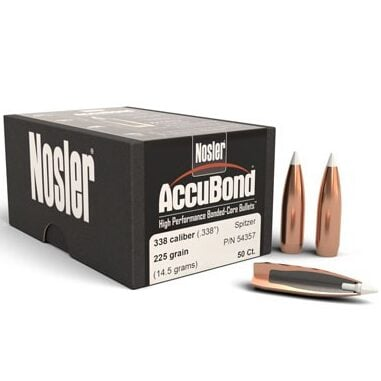 Nosler .338 / 338 225 Grain Spitzer Point Accubond (50)