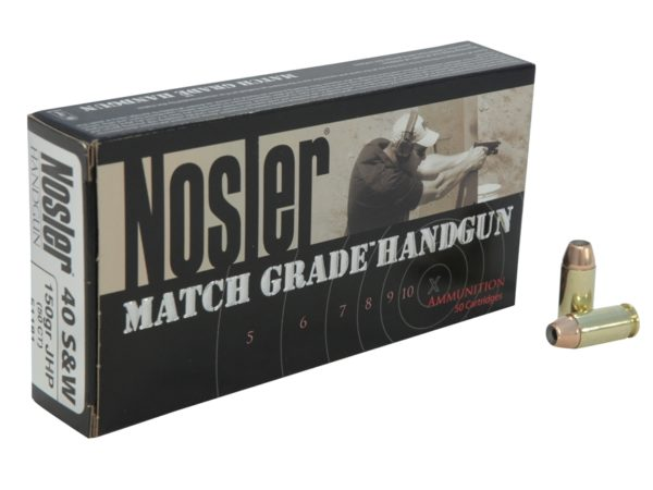 Nosler Ammo 40 S&W 150 Grain Jacketed Hollow Point Match 700 Ct Can