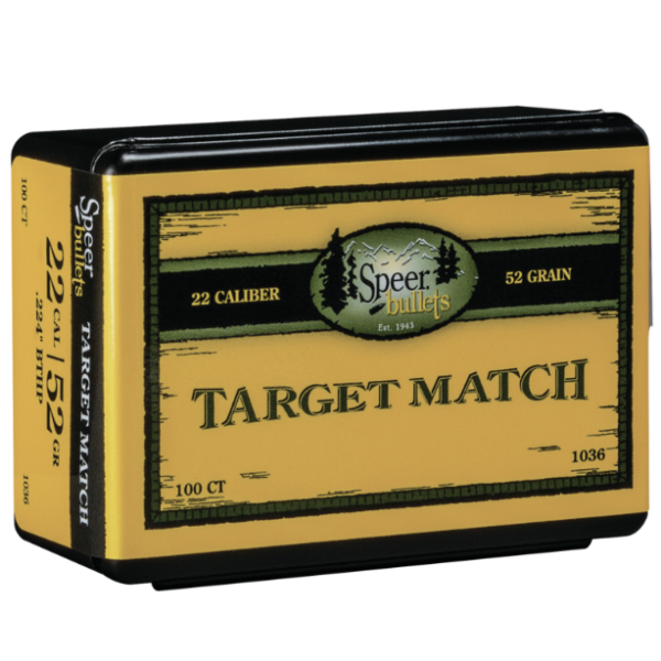 Speer .224 / 22 52 Grain Hollow Point Boat Tail Match (100)