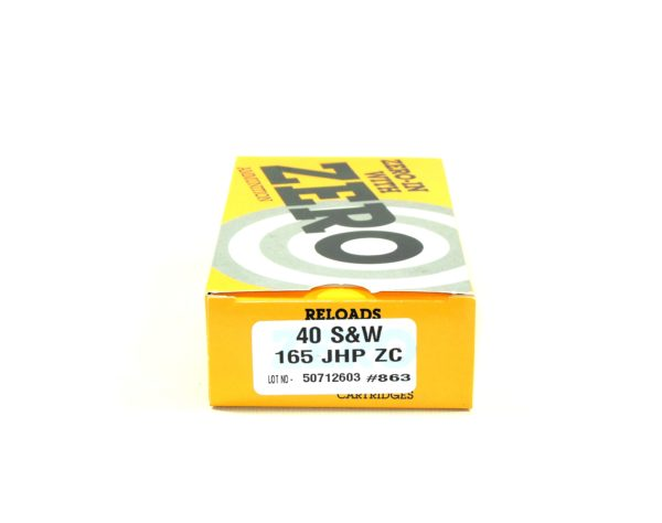 Zero Ammo Reload 40 165 Grain Jacketed Hollow Point (50)