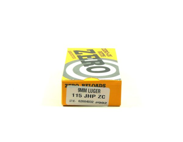 Zero Ammo Reload 9mm 115 Grain Jacketed Hollow Point (50)