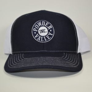 Powder Valley Hat Navy Blue Trucker Hat White Stitching
