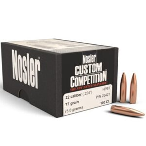 Nosler .224 / 22 77 Grain Hollow Point Boat Tail Custom Competition (100)