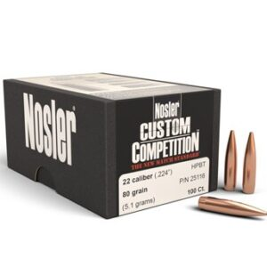 Nosler .224 / 22 80 Grain Hollow Point Boat Tail Custom Competition (100)