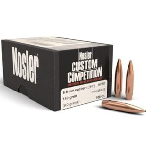 Nosler .264 / 6.5mm 140 Grain Hollow Point Boat Tail Custom Competition (100)