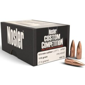Nosler .277 / 6.8mm 115 Grain Hollow Point Boat Tail Custom Competition (100)