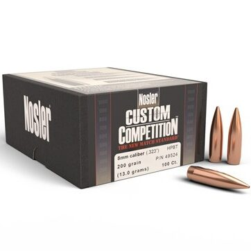 Nosler .323 / 8mm 200 Grain Hollow Point Boat Tail Custom Competition (100)
