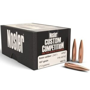 Nosler .243 / 6mm 107 Grain Hollow Point Boat Tail Custom Competition (100)