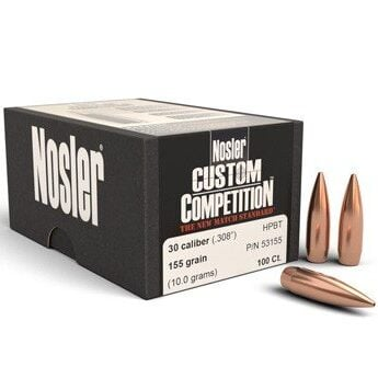 Nosler .308 / 30 155 Grain Hollow Point Boat Tail Custom Competition (100)