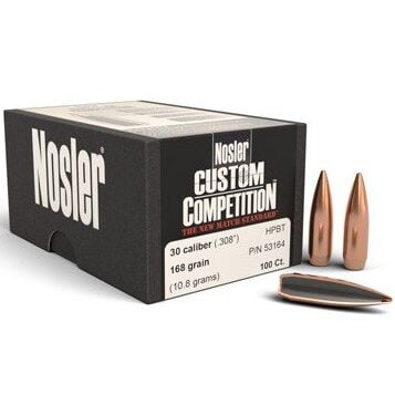 Nosler .308 / 30 168 Grain Hollow Point Boat Tail Custom Competition (100)