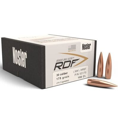 Nosler .308 / 30 175 Grain Hollow Point Boat Tail RDF (Reduced Drag Factor) (100)