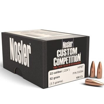Nosler .224 / 22 52 Grain Hollow Point Boat Tail Custom Competition (100)