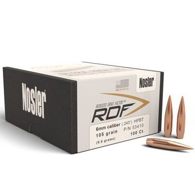 Nosler .243 / 6mm 105 Grain Hollow Point Boat Tail RDF (Reduced Drag Factor) (100)