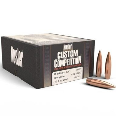 Nosler .308 / 30 190 Grain Hollow Point Boat Tail Custom Competition (100)