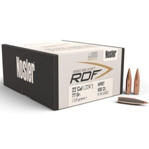 Nosler .224 / 22 77 Grain Hollow Point Boat Tail Reduced Drag Factor (100)