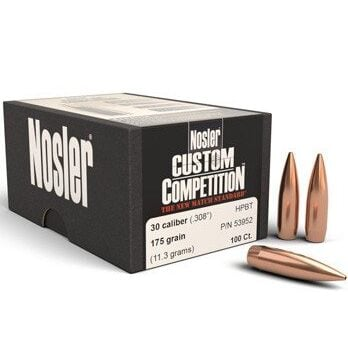 Nosler .308 / 30 175 Grain Hollow Point Boat Tail Custom Competition (100)