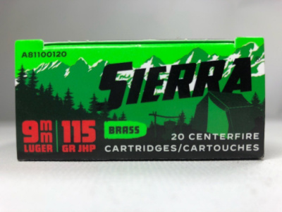 Sierra 9mm Luger 115 Grain Jacketed Hollow Point Ammunition (20 Rounds) Outdoor Master