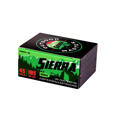 Sierra 45 Auto 185 Grain Jacketed Hollow Point Ammunition (20 Rounds) Outdoor Master